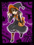 1girl atlus brown_hair doujima_nanako dress halloween hat megami_tensei persona persona_4 ribbon shin_megami_tensei shoes twintails witch_hat