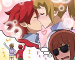 1boy 2girls blush gundam gundam_build_fighters gundam_build_fighters_try hoshino_fumina kamiki_mirai kamiki_sekai kiss multiple_girls redhead
