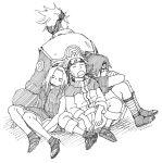1girl 3boys haruno_sakura hatake_kakashi lowres monochrome multiple_boys naruto sketch tagme terragin uchiha_sasuke uzumaki_naruto