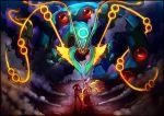 10s 1girl blaziken dragon epic fire glowing glowing_eyes haruka_(pokemon) haruka_(pokemon)_(remake) mega_blaziken mega_pokemon mega_rayquaza pokemon pokemon_(game) pokemon_oras rayquaza renepolumorfous smoke