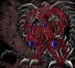 80s black_background d-ma daimajuu_gekitou_hagane_no_oni giant_robot mecha no_humans old_school oldschool oni red_oni smile standing yellow_eyes
