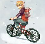 backpack bag bicycle blonde_hair blue_eyes candy kurama_(naruto) lollipop looking_back naruto riding spiky_hair uzucake uzumaki_naruto whiskers wristband