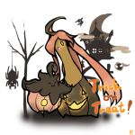 10s ahoge gastly gourgeist halloween jack-o'-lantern long_hair open_mouth pink_hair pokemon pokemon_(game) pokemon_xy pumpkaboo spider spinarak tombstone tree trick_or_treat yellow_eyes zubat