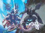 10s absurdres blue_sky cavern dialga haruka_(pokemon) haruka_(pokemon)_(remake) highres latias mega_latias mega_pokemon official_art palkia pokemon pokemon_(game) pokemon_oras portal_(object) reshiram sky sugimori_ken yuuki_(pokemon) yuuki_(pokemon)_(remake) zekrom