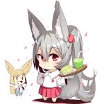 2girls animal_ears bangs barefoot bendy_straw blue_skirt blush bread brown_hair chibi closed_mouth collarbone collared_shirt commentary_request cup drinking_glass drinking_straw eyebrows_visible_through_hair food fox_ears fox_girl fox_tail grey_hair hair_between_eyes hair_ornament hairclip high_ponytail highres holding holding_tray long_hair long_sleeves looking_at_viewer melon_bread multiple_girls original petals pleated_skirt ponytail red_eyes red_skirt shadow shirt short_hair skirt smile tail tray very_long_hair white_background white_shirt wide_sleeves yuuji_(yukimimi)