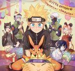 1girl 5boys birthday boring_(brtgm) cake food haruno_sakura hatake_kakashi highres kurama_(naruto) multiple_boys naruto naruto_shippuuden sai uchiha_sasuke uzumaki_naruto yamato_(naruto)