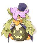 1girl female gourgeist gourgeist_(cosplay) hair_over_one_eye halloween hat jack-o'-lantern lilligant nintendo no_humans orange_eyes plant_girl pokemon pumpkin simple_background top_hat ukan_muri white_background