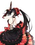 1girl back backless bare_shoulders black_hair breasts clock_eyes date_a_live dress female gothic gun hairband highres lolita_fashion lolita_hairband long_hair long_skirt looking_back profile red_eyes side_glance simple_background skirt solo standing symbol-shaped_pupils thigh-highs tokisaki_kurumi twintails weapon white_background yellow_eyes