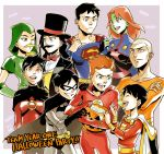 4girls 5boys alien aqua_man arrow artemis_crock bat_(symbol) batman batman_(cosplay) belt billy_batson black_hair blonde_hair blue_eyes bodysuit bow bowtie brown_eyes candy cape cosplay cowl crossed_arms dark_skin dc_comics dick_grayson domino_mask earrings everyone facial_hair fake_mustache freckles gloves green_arrow green_eyes green_skin halloween hat hood icon_(dc) jack-o'-lantern jewelry kaldur'ahm lightning_bolt martian_manhunter mask miss_martian multiple_boys multiple_girls mustache open_mouth orange_hair raquel_ervin redhead s_shield sen_(pixiv111638) shazam smile superboy superman superman_(cosplay) the_flash top_hat waistcoat wally_west wand young_justice:_invasion zatanna_zatara