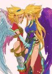 2girls black_wings blonde_hair blue_eyes breath_of_fire breath_of_fire_i breath_of_fire_ii capcom hairband hota_(29812) leotard long_gloves long_hair multiple_girls nina_(breath_of_fire_i) nina_(breath_of_fire_ii) plain_background short_hair simple_background thigh-highs thighs wings