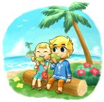 10s 1boy 1girl 2013 aryll blonde_hair closed_eyes dress eating floral_print flower food island link log ocean palm_tree sen_(pixiv111638) sitting smile the_legend_of_zelda the_legend_of_zelda:_the_wind_waker tree tunic twintails