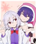 +++ 2girls angel_wings blush bow bowtie braid closed_eyes commentary_request cropped_legs dark_blue_hair doremy_sweet dress eyebrows_visible_through_hair french_braid hair_between_eyes hat highres jacket kishin_sagume looking_to_the_side multiple_girls pink_background pom_pom_(clothes) purple_dress red_eyes red_neckwear santa_hat shio_(futatsumami) short_hair silver_hair single_wing smile tail tapir_tail touhou turtleneck upper_body white_jacket wings