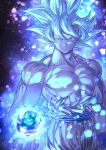 1boy abs arm_at_side aura blue_background blue_theme blurry bokeh closed_mouth collarbone commentary_request cupping_hands dark_background depth_of_field dragon_ball dragon_ball_super dragon_ball_z earth expressionless fingernails floating_hair frown glowing grey_eyes hand_up light_particles looking_down male_focus mattari_illust muscle orange_pants pants pectorals planet purple_background shaded_face shirt shirtless sky son_gokuu spiky_hair star_(sky) starry_sky torn_clothes torn_shirt twitter_username ultra_instinct white_background white_hair white_theme wristband