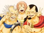 1girl 2boys black_hair cape dressrosa family father_and_daughter gladiator king king_riku kyros multiple_boys one_piece open_mouth pink_hair princess puniatta rebecca_(one_piece) scar smile v white_hair