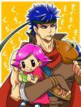 1boy 1girl blue_hair doubutsu_no_mori eating fire_emblem fire_emblem:_akatsuki_no_megami food fruit headband ike intelligent_systems meat nintendo nintendo_ead oideyo!_doubutsu_no_mori pear super_smash_bros. super_smash_bros_for_wii_u_and_3ds translation_request villager_(doubutsu_no_mori) yuko_(taxidermy)