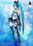 1girl bare_shoulders blue_hair detached_sleeves hatsune_miku long_hair necktie nomura_tetsuya official_art sleeveless square_enix thigh-highs twintails very_long_hair vocaloid