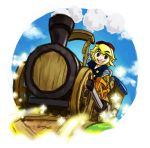 1boy blonde_hair hat link pointy_ears railroad_tracks sen_(pixiv111638) smile the_legend_of_zelda the_legend_of_zelda:_spirit_tracks train