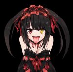 1girl bare_shoulders black_background black_hair breasts cleavage clock_eyes date_a_live dress female gothic hairband heterochromia highres lolita_fashion lolita_hairband long_hair looking_at_viewer red_eyes red_ribbon ribbon solo standing symbol-shaped_pupils tokisaki_kurumi tongue tongue_out twintails yellow_eyes
