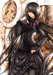 1girl black_dress breasts clock date_a_live dress flower gothic hair_ornament hair_over_one_eye lolita_fashion long_hair long_skirt long_sleeves open_mouth pantyhose puffy_sleeves purple_rose ribbon rose skirt solo standing thighs tokisaki_kurumi twintails very_long_hair