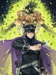 1boy black_hair cape devil_summoner fire green_fire gun hat holster knife kuzunoha_raidou peaked_cap tetu uniform weapon