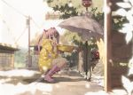 5_nenme_no_houkago blurry boots bus_stop depth_of_field highres kantoku miyaguchi_kanna original pink_eyes pink_hair polka_dot shrine solo twintails umbrella