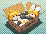amazon_(company) blonde_hair box brother_and_sister detached_sleeves in_box in_container kagamine_len kagamine_rin necktie ribbon siblings sleeping twins vocaloid yukako