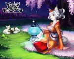 animal_ears arm_support breasts brown_eyes cherry_blossoms cleavage fangs fox fox_ears fox_tail hair_up japanese_clothes kimono kongiku lantern large_breasts leaf leaf_on_head night noma oboro_muramasa official_art paper_lantern sandals scenery shigatake silver_hair sitting sleeping solo tail tassel text tree wallpaper yokozuwari