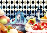 1girl aqua_eyes aqua_hair argyle berries cake dress eating food fruit hatsune_miku long_hair macaron mirunai nail_polish pastry shoes solo strawberry twintails very_long_hair vocaloid