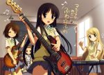 akiyama_mio band bass_guitar black_eyes black_hair blonde_hair blue_eyes brown_hair closed_eyes drum drum_set guitar hairband hirasawa_yui instrument k-on! kankurou kotobuki_tsumugi long_hair multiple_girls school_uniform short_hair synthesizer tainaka_ritsu translated
