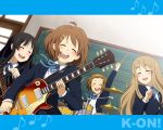 akiyama_mio band black_hair blonde_hair brown_hair closed_eyes drum drum_set guitar hirasawa_yui instrument k-on! kotobuki_tsumugi long_hair multiple_girls school_uniform short_hair sumii_(fumiki7) synthesizer tainaka_ritsu wallpaper