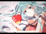 apple aqua_hair blue_eyes camisole food fruit hatsune_miku highres holding holding_fruit lying mukkun on_side romeo_and_cinderella_(vocaloid) romeo_to_cinderella_(vocaloid) vocaloid