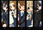 akiyama_mio bag black_hair blue_eyes brown_eyes brown_hair drumsticks grin guitar hirasawa_yui hoppege instrument k-on! keyboard_(instrument) kotobuki_tsumugi long_hair multiple_girls nakano_azusa school_uniform seifuku short_hair smile synthesizer tainaka_ritsu wink