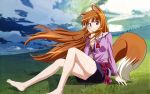 animal_ears barefoot brown_hair cloud feet grass highres holo long_hair outdoors red_eyes sky smile spice_and_wolf tail wallpaper wolf_ears