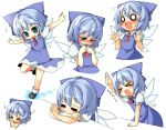 >_< /\/\/\ :> beihan blush chibi cirno embarrassed expressions fang hands kokka_han o_o outstretched_arms spread_arms surprised touhou white