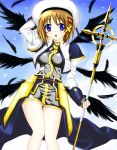 black_wings blue_eyes blush brown_hair dansa feathers hand_behind_head mahou_shoujo_lyrical_nanoha mahou_shoujo_lyrical_nanoha_strikers multiple_wings schwertkreuz short_hair staff wings yagami_hayate