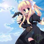 bird bird_on_hand blonde_hair cloud clouds crow hair_ribbon kamio_misuzu long_hair ribbon school_uniform sky sora_(air) thighhighs yuuki_tsubasa