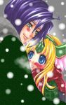 1girl blonde_hair blue_eyes blush couple hawkeye head_wings headwings hug rapyusell riesz scarf seiken_densetsu seiken_densetsu_3