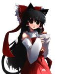 1girl animal_ears black_hair blush brown_eyes cat_ears eating food hakurei_reimu japanese_clothes kemonomimi_mode long_hair miko ribbon shin_(new) touhou