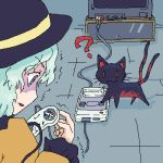 ? aqua_hair cable cat console controller girls_playing_games hat kaenbyou_rin kaenbyou_rin_(cat) komeiji_koishi lowres oekaki playing_games snes super_famicom tail television touhou trembling video_game