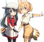 2girls :d adapted_costume alternate_hair_length alternate_hairstyle animal_ears backpack bag belt between_breasts black_gloves black_legwear blonde_hair blue_eyes blue_hair breasts cowboy_shot elbow_gloves extra_ears gloves hair_between_eyes hair_ribbon hand_holding hat hat_feather highres kaban_(kemono_friends) kemono_friends long_hair low-tied_long_hair medium_breasts multiple_girls necktie necktie_between_breasts open_mouth pantyhose pantyhose_under_shorts pleated_skirt pointing print_gloves print_legwear print_neckwear print_ribbon red_shirt ribbon serval_(kemono_friends) serval_ears serval_print serval_tail shirt short_hair short_sleeves shorts simple_background skirt smile tail thigh-highs very_long_hair white_background white_hat white_shirt white_skirt yellow_eyes yellow_shorts yutsu