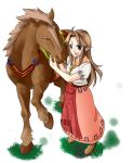blue_eyes boots brown_hair dress epona horse long_hair malon nintendo plain_background pointy_ears smile the_legend_of_zelda the_legend_of_zelda:_ocarina_of_time youko_(pixiv25465373)