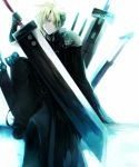 1boy aka_tonbo_(lililil) blonde_hair blue_eyes cloud_strife final_fantasy final_fantasy_vii huge_sword huge_weapon male_focus sitting solo sword weapon