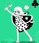 1girl color_background crown dress dressrosa monocle one_piece polka_dot polka_dot_dress sandals shivanel souji_(souji-59) sugar_(one_piece)