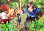 10s 1girl 2boys bel_(pokemon) blonde_hair brown_hair cheren_(pokemon) climbing ichi_kawa_ichi leaf multiple_boys pansear pokemon pokemon_(game) pokemon_bw touya_(pokemon) tree