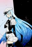 1girl akame_ga_kill! aqua_hair blue_hair boots breasts esdeath hat large_breasts long_boots long_hair miniskirt skirt standing stitched uniform