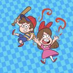 1boy 1girl ape_(company) baseball_bat bow braces brother_and_sister brown_hair checkered checkered_background child crossover dipper_pines disney disney_xd gravity_falls hair_bow hal_laboratory_inc. jpeg_artifacts mabel_pines md5_mismatch mother_(game) mother_2 ness ness_(cosplay) nintendo paula_polestar paula_polestar_(cosplay) siblings twins