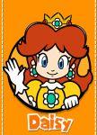 1girl blue_eyes brown_hair crown gloves icon looking_at_viewer nintendo orange_background parody princess_daisy smile super_mario_3d_world super_mario_bros. super_mario_land waving
