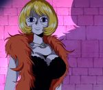 1girl blonde_hair breasts dress feather_boa jewelry large_breasts necklace one_piece scar screencap solo stitched thriller_bark victoria_cindry zombie