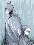 2boys animal_ears back-to-back batman batman_(series) brothers cape cowl damian_wayne dc_comics dick_grayson domino_mask family male_focus mask multiple_boys robin_(dc) short_hair siblings zatou_(sanzatou)
