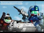 80s artist_name chibi gm_sniper_ii gun guncannon guncannon_mp_type gundam gundam_0080 mecha type_74_(gundam) vehicle volf505 weapon